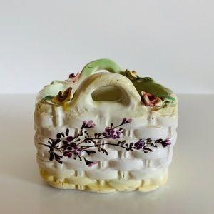 Vintage Capodimonte Style Porcelain Woven Basket